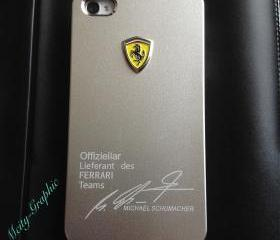 Ferrari iPhone 4/4S Case ferrari Emblem Sport Car logo Aluminium matte Metallist cover - silver